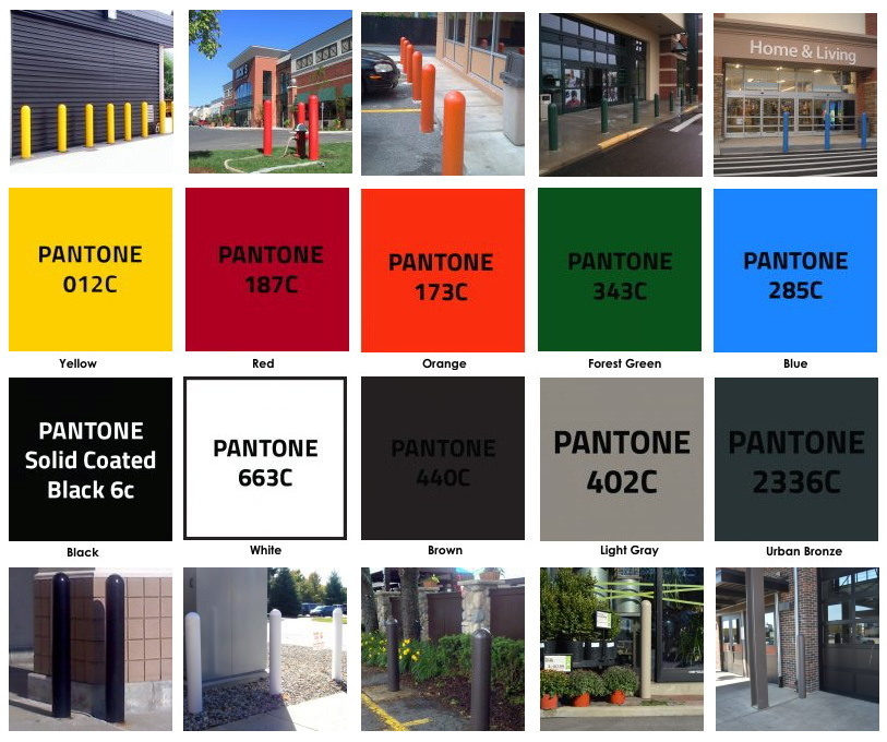 Photos and Graphics of Standard Bollard cover colors