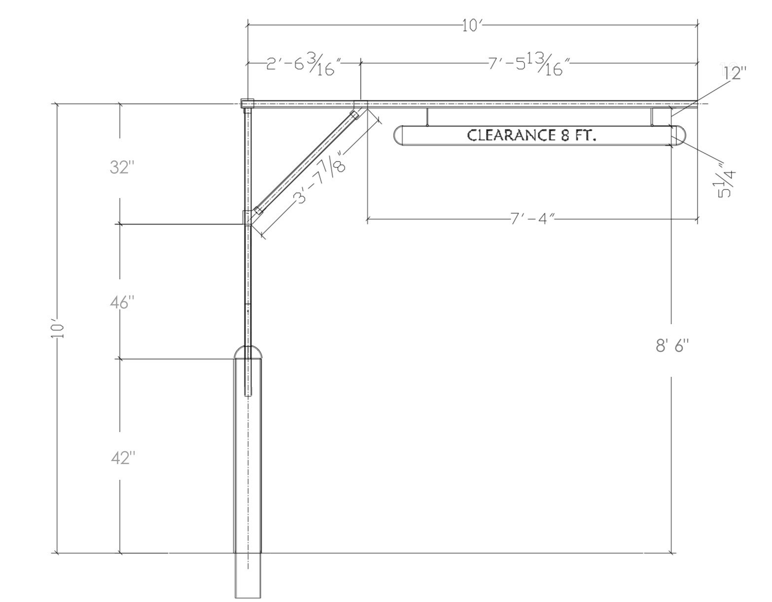 Free Standing Clearance Bar Dimensions