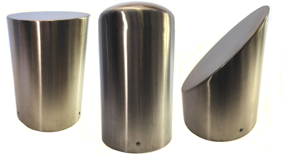 Stainless Steel Bollard Covers - Flat, Dome & Slant Tops